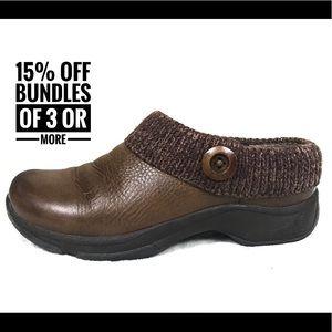 Dansko brown clogs slip on brown leather shoes